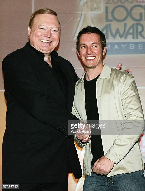 TV hosts Bert Newton and Rove McManus attend the nominations ceremony for the 2006 TV Week Logie Awards at the Powerhouse Museum on April 3 2006 in...