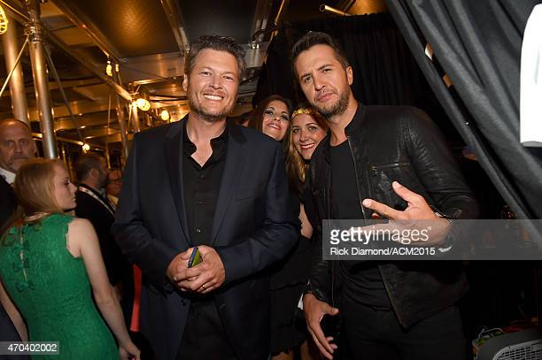 Hosts Blake Shelton and Luke Bryan pose backstage at the 50th Academy of Country Music Awards at ATT Stadium on April 19 2015 in Arlington Texas