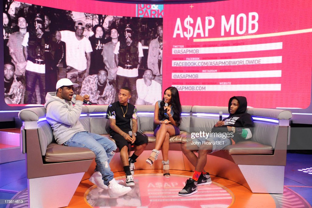 Hosts <a gi-track='captionPersonalityLinkClicked' href=/galleries/search?phrase=Bow+Wow+-+Rapper&family=editorial&specificpeople=211211 ng-click='$event.stopPropagation()'>Bow Wow</a> and <a gi-track='captionPersonalityLinkClicked' href=/galleries/search?phrase=Angela+Simmons&family=editorial&specificpeople=653461 ng-click='$event.stopPropagation()'>Angela Simmons</a> with A$AP Ferg and A$AP Rocky at BET's 106 & Park at BET Studios on July 15, 2013 in New York City.