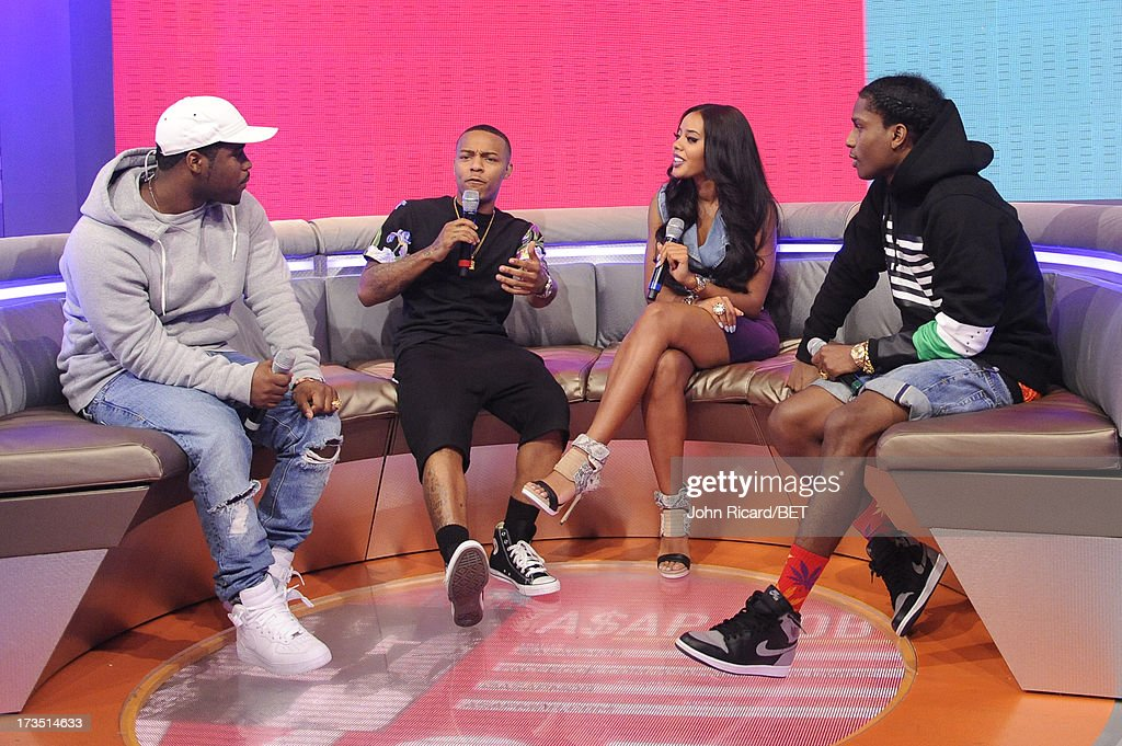 Hosts Bow Wow and Angela Simmons with A$AP Ferg and A$AP Rocky at BET's 106 & Park at BET Studios on July 15, 2013 in New York City.