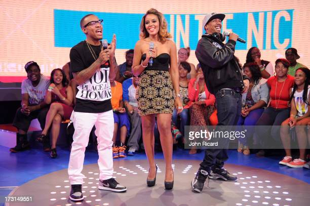 Hosts Bow Wow and Angela Simmons with Nick Cannon at BET's '106 Park' at BET Studios on July 8 2013 in New York City