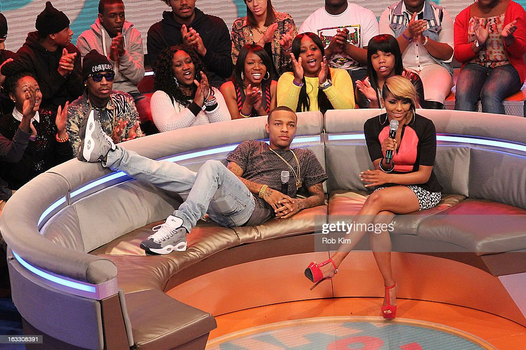 Hosts Bow Wow (R) and Miss Mykie at BET's '106 & Park' at BET Studios on March 7, 2013 in New York City.