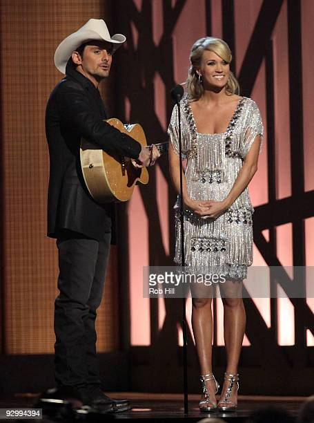 Hosts Brad Paisley and Carrie Underwood perform at the 43rd Annual CMA Awards at the Sommet Center on November 11 2009 in Nashville Tennessee