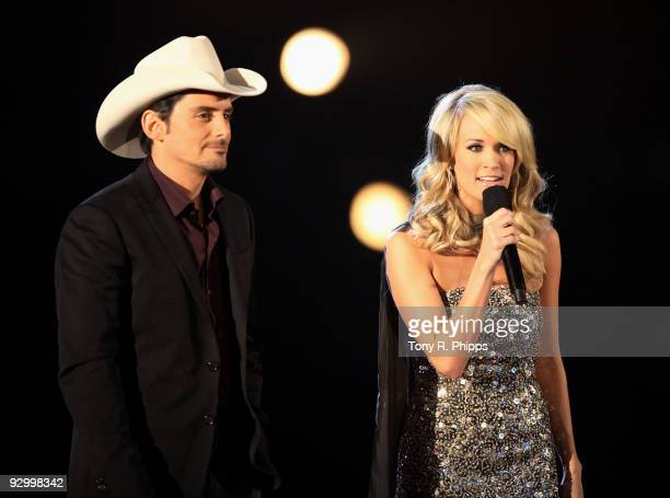 Hosts Brad Paisley and Carrie Underwoood onstage during the 43rd Annual CMA Awards at the Sommet Center on November 11 2009 in Nashville Tennessee