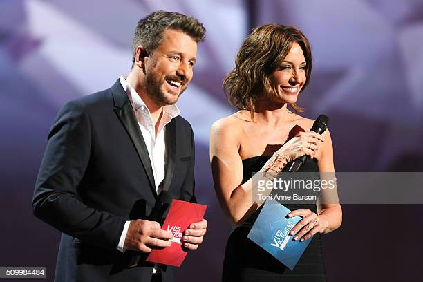 Hosts Bruno Guillon and Virginie Guilhaume during 'Les Victoires De La Musique' at Le Zenith on February 12 2016 in Paris France