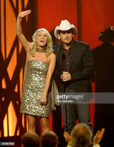 Hosts Carrie Underwood and Brad Paisley speak onstage during the 43rd Annual CMA Awards at the Sommet Center on November 11 2009 in Nashville...