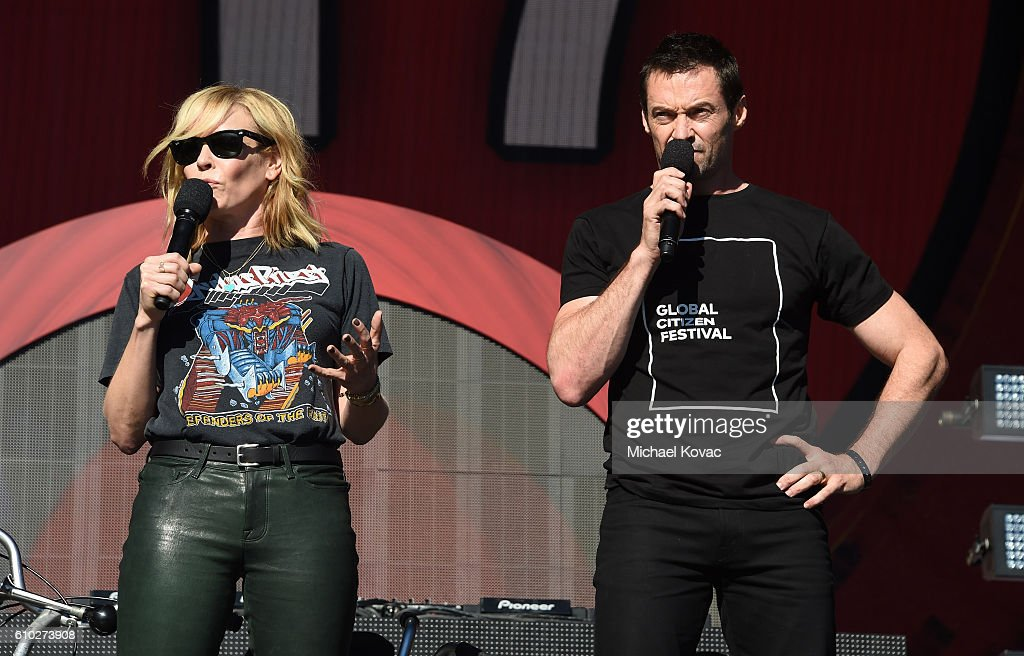 Hosts Chelsea Handler (L) and Hugh Jackman present onstage at the 2016 Global Citizen Festival in Central Park To End Extreme Poverty By 2030 at Central Park on September 24, 2016 in New York City.