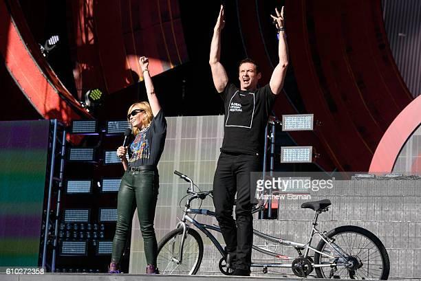 Hosts Chelsea Handler and Hugh Jackman speak onstage at Global Citizen Festival 2016 at Central Park on September 24 2016 in New York City