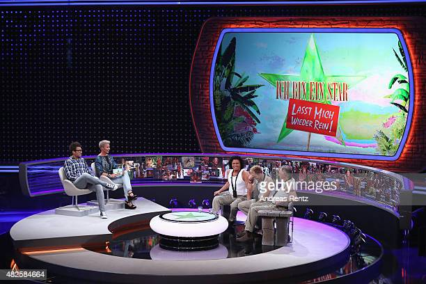 TV hosts Daniel Hartwich with Sonja Zietlow Costa Cordalis Dustin Semmelrogge and Werner Boehm attend the 1st live show of the television show 'Ich...