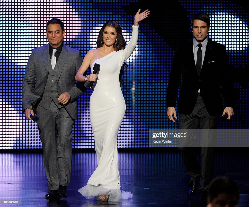 Hosts Daniel Sarcos, Marlene Favela and Rafael Amana appear onstage at the Billboard Mexican Music Awards presented by State Farm on October 18, 2012 in Los Angeles, California.
