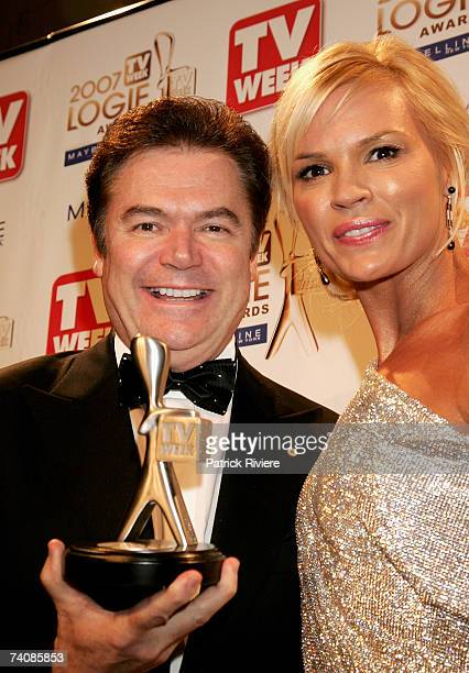 TV hosts Daryl Somers and Sonia Kruger pose backstage in the Awards Room with the TV Week Silver Logie award for Most Popular Reality Program for...