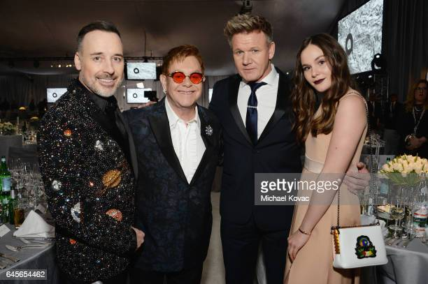 Hosts David Furnish Elton John TV personality Gordon Ramsay and Holly Ramsay attend the 25th Annual Elton John AIDS Foundation's Academy Awards...