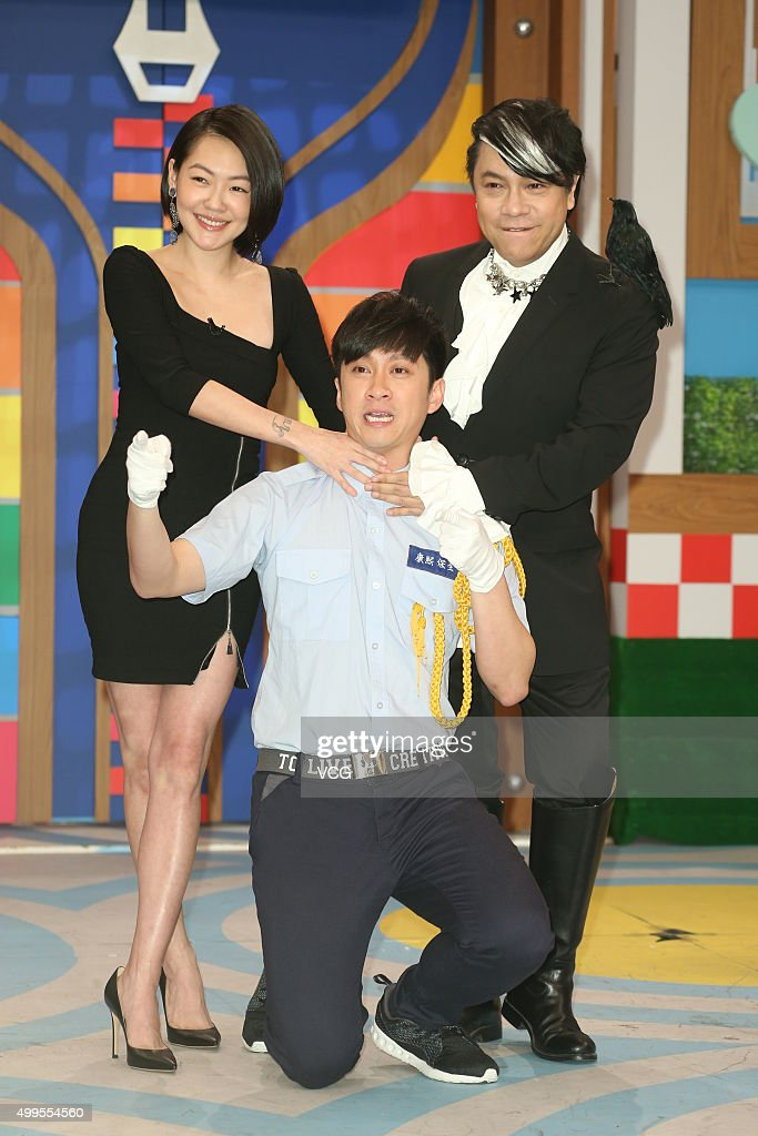 Hosts <a gi-track='captionPersonalityLinkClicked' href=/galleries/search?phrase=Dee+Hsu&family=editorial&specificpeople=4238913 ng-click='$event.stopPropagation()'>Dee Hsu</a> (L), Kevin Tsai (R) and Han Dian Chen in action during the last taping of 'Kangxi Talk Show' at Chung T'ien Television on December 2, 2015 in Taipei, Taiwan.