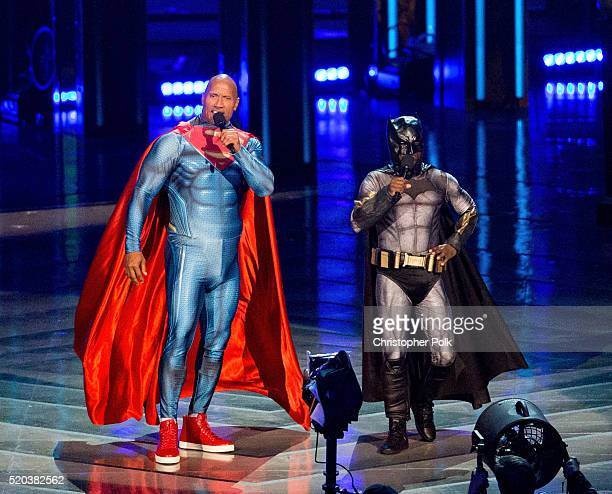 Hosts Dwayne Johnson and Kevin Hart speak onstage during the 2016 MTV Movie Awards at Warner Bros Studios on April 9 2016 in Burbank California MTV...