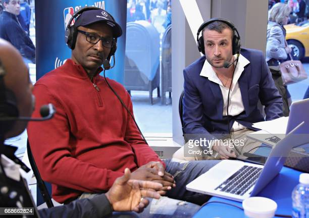 Hosts Eddie Johnson and Justin Termine take part in SiriusXM's NBA Radio Playoff Preview live from the NBA Store on April 14 2017 in New York City
