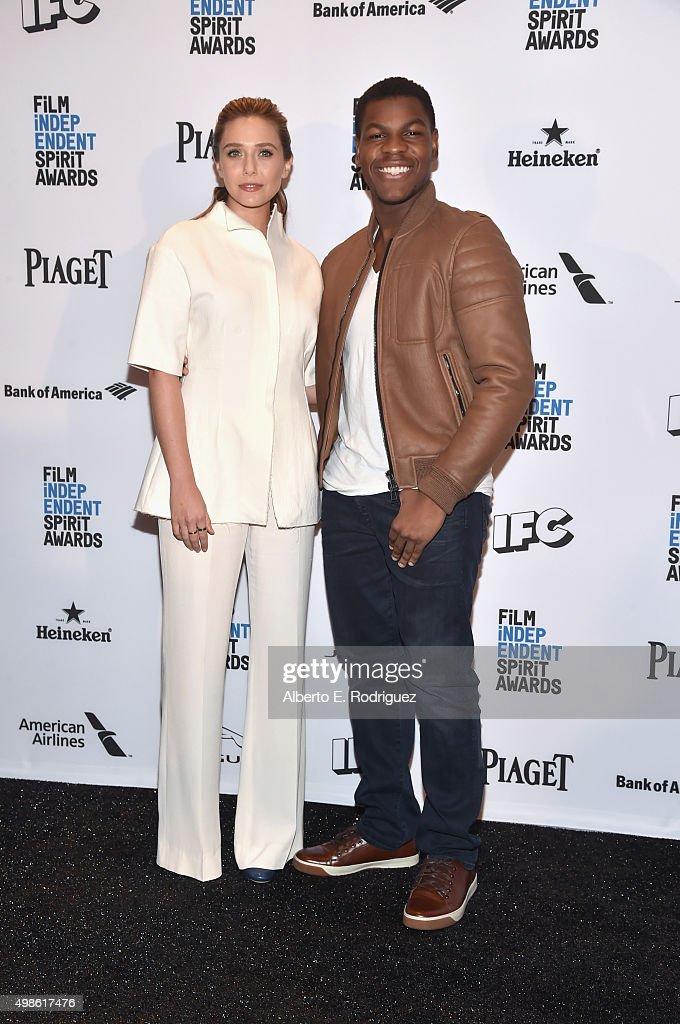 Hosts Elizabeth Olsen and John Boyega attend the 31st Film Independent Spirit Awards Nominations Press Conference at W Hollywood on November 24 2015...
