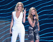Hosts Erin Andrews and Brittany Snow speak onstage during the 2015 CMT Music awards at the Bridgestone Arena on June 10 2015 in Nashville Tennessee