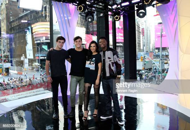 TRL Hosts Ethan Dolan Grayson Dolan Tamara Dhia and DC Young Fly attend the MTV TRL Press Junket to promote the relaunch of TRL at MTV Studios on...