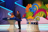 Hosts Fernanda Lima and FIFA Secretary General Jerome Valcke speak to the audience before the Final Draw for the 2014 FIFA World Cup Brazil at Costa...