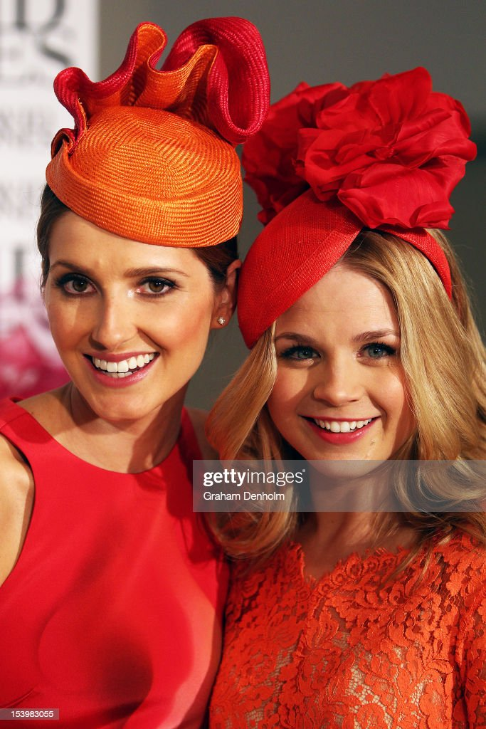 Hosts for the event <a gi-track='captionPersonalityLinkClicked' href=/galleries/search?phrase=Kate+Waterhouse&family=editorial&specificpeople=208104 ng-click='$event.stopPropagation()'>Kate Waterhouse</a> (L) and Emma Freedman pose at the David Jones High Tea & Spring Millinery Event at David Jones Bourke Street Mall on October 12, 2012 in Melbourne, Australia.