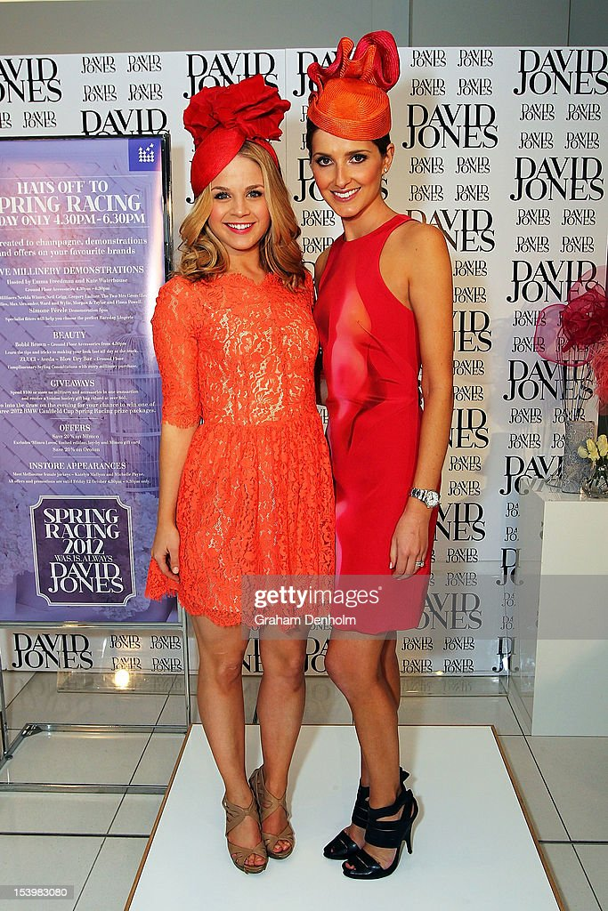 Hosts for the event Kate Waterhouse (R) and Emma Freedman pose at the David Jones High Tea & Spring Millinery Event at David Jones Bourke Street Mall on October 12, 2012 in Melbourne, Australia.