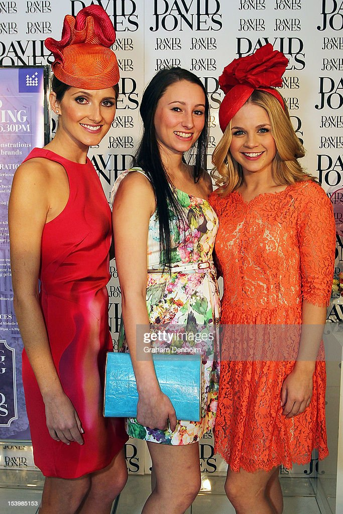 Hosts for the event <a gi-track='captionPersonalityLinkClicked' href=/galleries/search?phrase=Kate+Waterhouse&family=editorial&specificpeople=208104 ng-click='$event.stopPropagation()'>Kate Waterhouse</a> (L) and Emma Freedman (R) pose with jockey Katelyn Mallyon at the David Jones High Tea & Spring Millinery Event at David Jones Bourke Street Mall on October 12, 2012 in Melbourne, Australia.