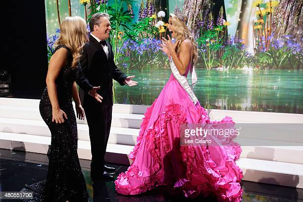 Hosts Former Miss Wisconsin Alex Wehrley Todd Newton and Miss USA Olivia Jordan of Oklahoma on stage at the 2015 Miss USA Pageant Only On...