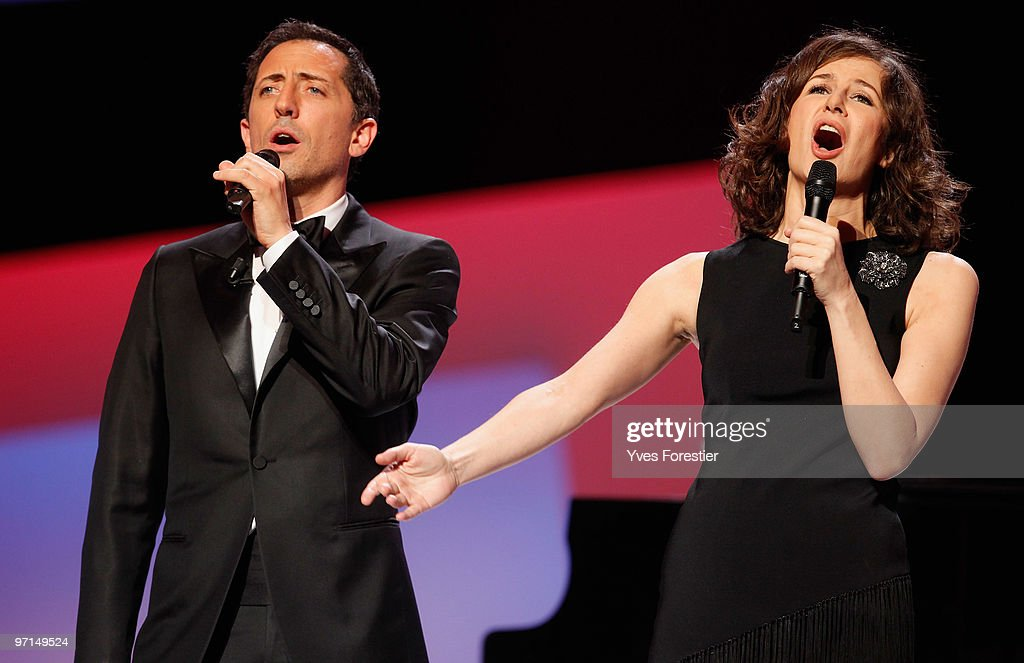 Hosts Gad Elmaleh and Valerie Lemercier speak onstage during the 35th Cesar Film Awards held at Theatre du Chatelet on February 27 2010 in Paris...