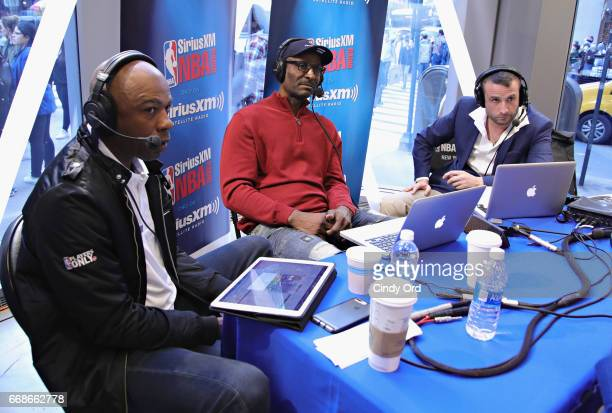 Hosts Greg Anthony Eddie Johnson and Justin Termine take part in SiriusXM's NBA Radio Playoff Preview live from the NBA Store on April 14 2017 in New...