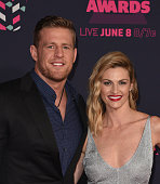 Hosts J J Watt and Erin Andrews attend the 2016 CMT Music awards at the Bridgestone Arena on June 8 2016 in Nashville Tennessee