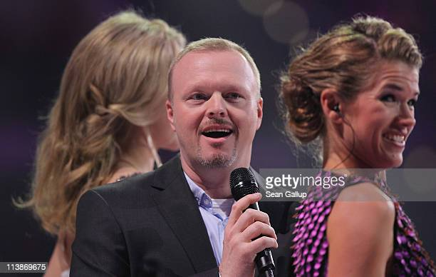 Hosts Judith Rakers Stefan Raab and Anke Engelke attend a dress rehearsal the day before the first semifinals of the Eurovision Song Contest 2011 on...