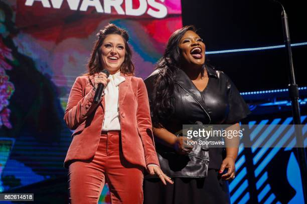 Hosts Kari Jobe and Tasha Cobbs Leonard during the 48th Annual GMA Dove Awards in Allen Arena on October 17 2017 in Nashville TN