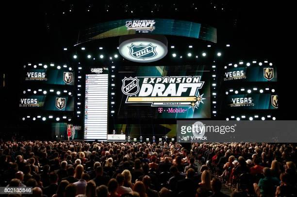 Hosts Kathryn Tappen and Daren Millard speak onstage during the 2017 NHL Awards Expansion Draft at TMobile Arena on June 21 2017 in Las Vegas Nevada