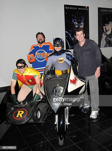 Hosts Kevin Smith and Ralph Garman poses with Batman and Robin at the 'Batman 66 Meets The Green Hornet' Comic Book Kickoff Fatman On Batman Live...
