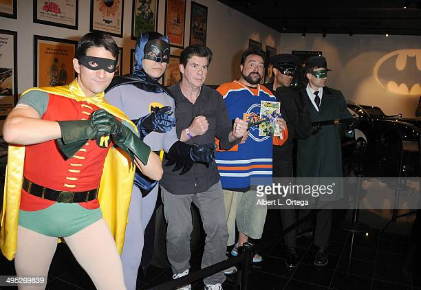 Hosts Kevin Smith and Ralph Garman poses with The Green Hornet Kato and Batman and Robin at the 'Batman 66 Meets The Green Hornet' Comic Book Kickoff...