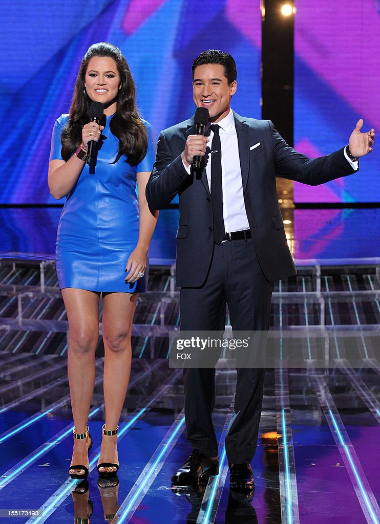 Hosts Khloe Kardashian Odom and Mario Lopez on FOX's 'The X Factor' Season 2 Top 16 To 12 Live Elimination Show on November 1, 2012 in Hollywood, California.