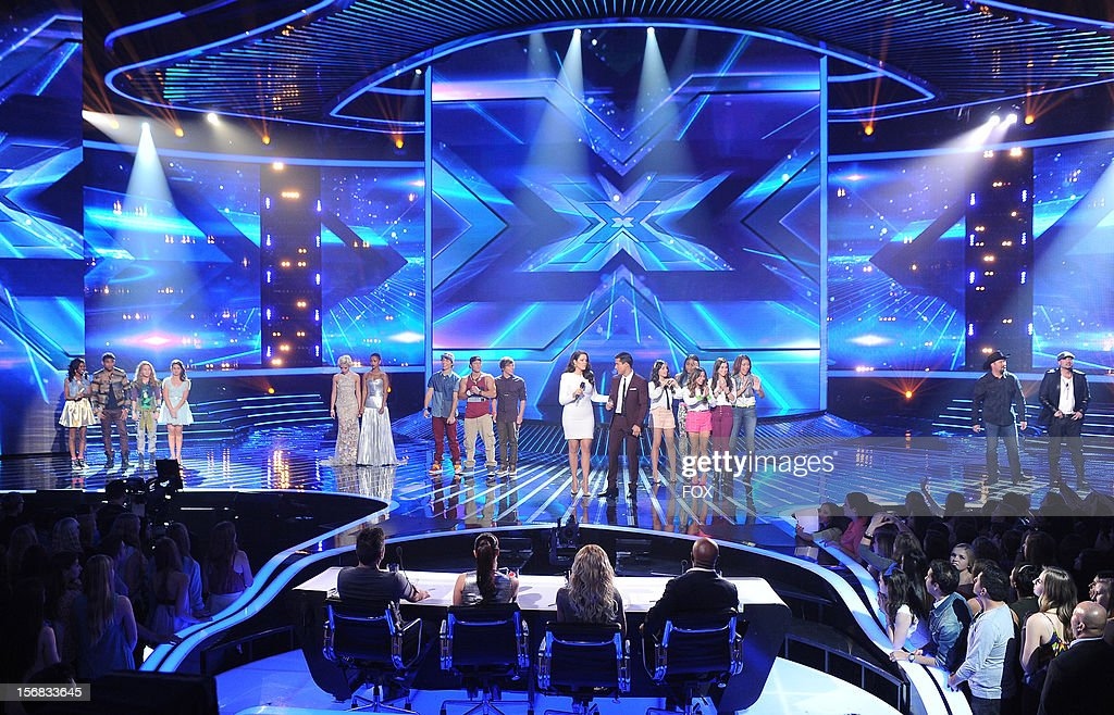 Hosts Khloe Kardashian Odom and Mario Lopez with the top 10 contestants onstage at FOX's 'The X Factor' Season 2 Top 10 Live Performance Show on November 21, 2012 in Hollywood, California.