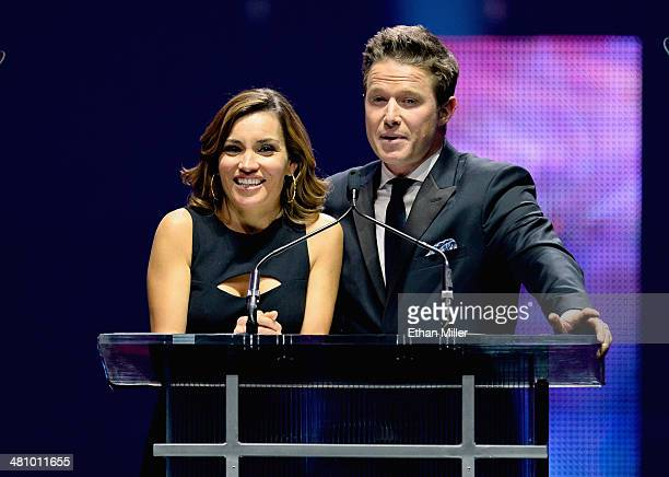 Hosts Kit Hoover and Billy Bush speak onstage The CinemaCon Big Screen Achievement Awards brought to you by The CocaCola Company during CinemaCon the...