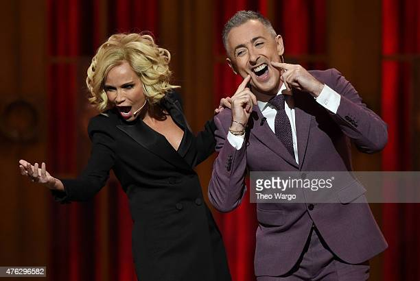 Hosts Kristin Chenoweth and Alan Cumming perform onstage at the 2015 Tony Awards at Radio City Music Hall on June 7 2015 in New York City