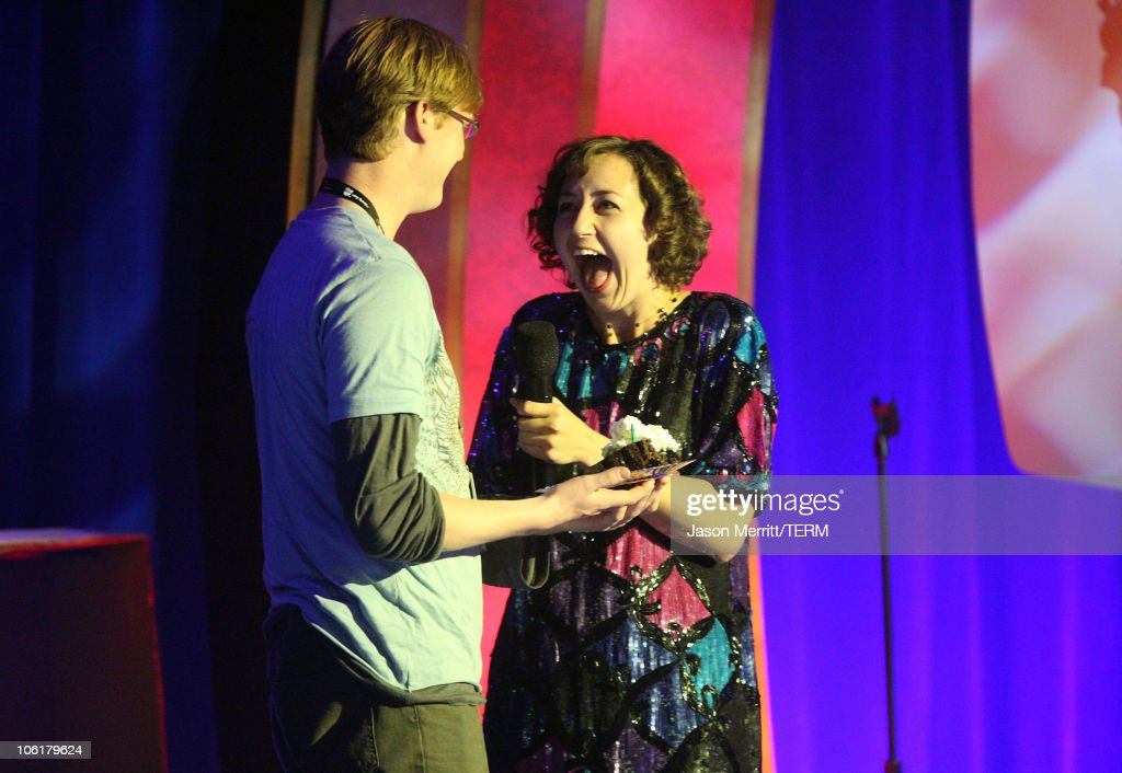 Hosts Kurt Braunohler and <a gi-track='captionPersonalityLinkClicked' href=/galleries/search?phrase=Kristen+Schaal&family=editorial&specificpeople=2479209 ng-click='$event.stopPropagation()'>Kristen Schaal</a> on stage during The <a gi-track='captionPersonalityLinkClicked' href=/galleries/search?phrase=Andy+Kaufman&family=editorial&specificpeople=587929 ng-click='$event.stopPropagation()'>Andy Kaufman</a> Award at HBO & AEG Live's 'The Comedy Festival' 2007 at Caesars Palace on November 16, 2007 in Las Vegas, Nevada.