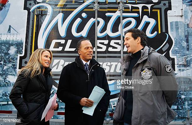 Hosts Lester Holt and Amy Robach along with former NHL player Brendan Shanahan film a segment of the 'Today' show durng the NHL Winter Classic Truck...