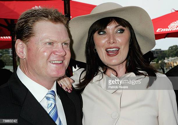 TV hosts Lisa Oldfield and Paul Vautin attend the Emirates marquee during the Schweppes Sydney Cup Day the final day of the 4day Easter Racing...