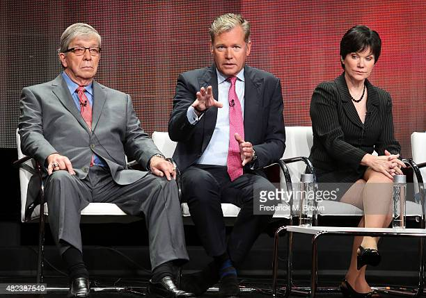 Hosts Lt Joe Kenda Chris Hansen and Candice DeLong speak onstage during the 'A New Season of ID' panel discussion at the Investgation Discovery...