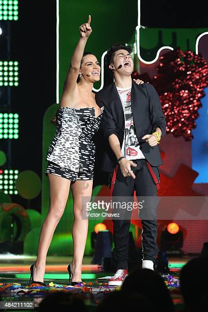 Hosts Maite Perroni and Mario Bautista speak on stage during the Nickelodeon Kids' Choice Awards Mexico 2015 at Auditorio Nacional on August 15 2015...