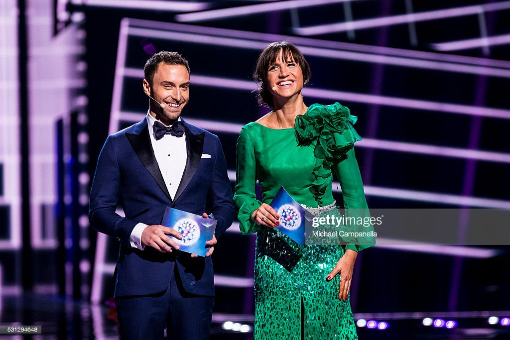 Hosts Mans Zelmerlow and Petra Mede during the final dress rehearsal of the 2016 Eurovision Song Contest at Ericsson Globe Arena on May 13 2016 in...