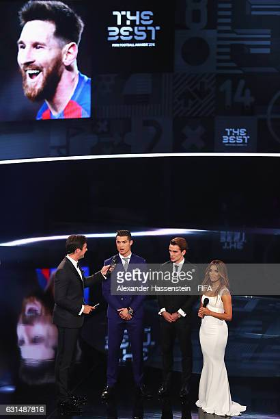 Hosts Marco Schreyl and Eva Longoria talk with The Best FIFA Men's Player nominees Cristiano Ronaldo of Portugal and Real Madrid and Antoine...