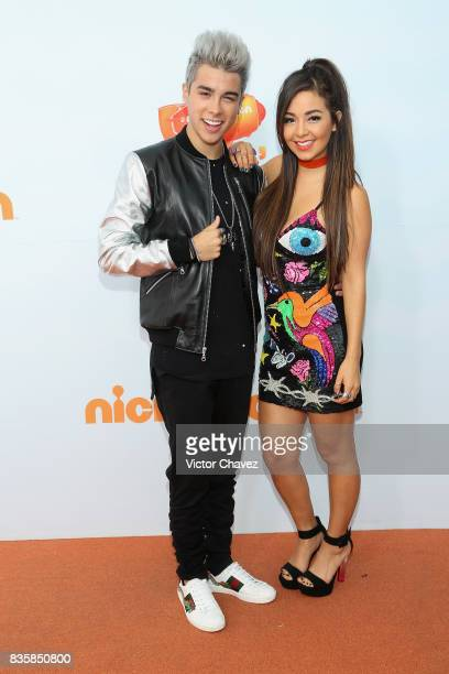 Hosts Mario Bautista and Caeli attend the Nickelodeon Kids' Choice Awards Mexico 2017 at Auditorio Nacional on August 19 2017 in Mexico City Mexico