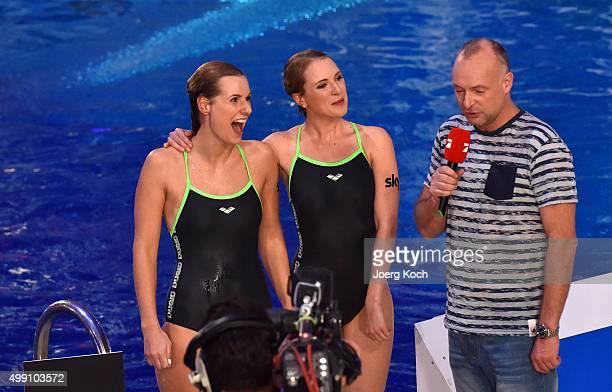 TV hosts Marlen Neuenschwander Ruth Hofmann and Frank Buschmann attend the TV show 'TV Total Turmspringen' on November 28 2015 in Munich Germany 'TV...