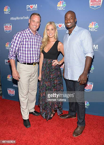TV hosts Matt Iseman Kristine Leahy and Akbar Gbajabiamila attend NBC's 'American Ninja Warrior' Season 7 Finale at The Autry National Center on...
