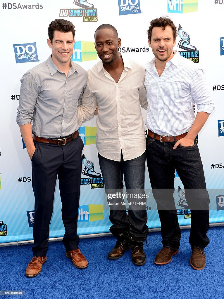 Hosts <a gi-track='captionPersonalityLinkClicked' href=/galleries/search?phrase=Max+Greenfield&family=editorial&specificpeople=599135 ng-click='$event.stopPropagation()'>Max Greenfield</a>, <a gi-track='captionPersonalityLinkClicked' href=/galleries/search?phrase=Lamorne+Morris&family=editorial&specificpeople=671004 ng-click='$event.stopPropagation()'>Lamorne Morris</a> and Jake M. Johnson arrives at the 2012 Do Something Awards at Barker Hangar on August 19, 2012 in Santa Monica, California.